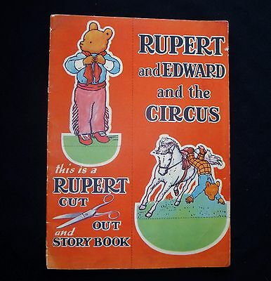 RUPERT BEAR EDWARD AND THE CIRCUS CUT-OUT BOOK MARY TOURTEL VINTAGE 1940s RARE