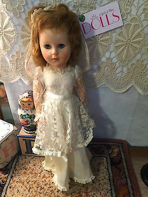 "Vintage 16"" vinyl Horsman bride doll with cute face"
