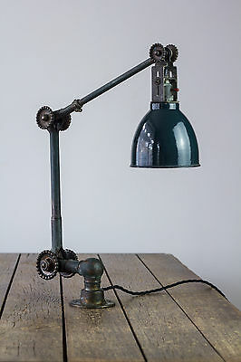 Vintage Industrial Copper Dugdill Machinist Factory Work Angle Enamel Lamp Light