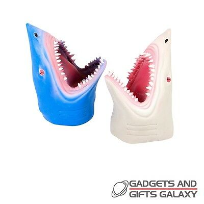 SHARK HAND PUPPET RUBBER HEAD 16cm stress relief autism aid toy gift childs kids