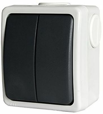 MK OUTSIDE LIGHT Switch 2 Gang 1 Way Outdoor Weatherproof Waterproof ...