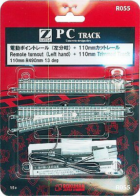 Rokuhan Z Scale 1/220 R055 R490mm 13° Remote Turnout - Left Hand & 110mm Track