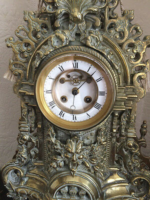 Large French Ornate Heavy Brass Clock - Statement Piece