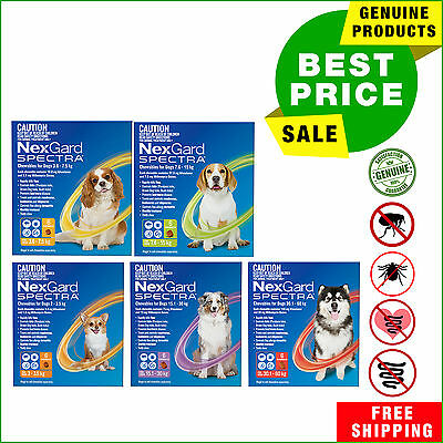 NEXGARD SPECTRA for Dogs All Sizes Flea Tick Heartworm Worm control 6 Chews