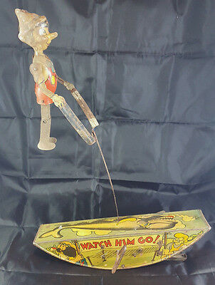 "Marx 1939 Disney Pinocchio the Acrobat ""Watch Him Go"" WDP Tin Windup Toy Antique"