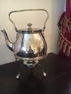 Silver Plate Spirit  Kettle With Stand And Burner