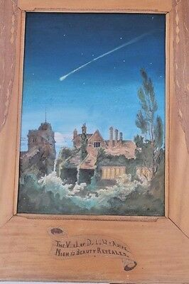 Arts and crafts gothic pastel/watercolour picture in marquetry frame