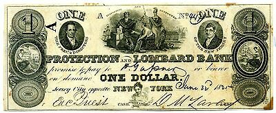 $1 Protection & Lombard Bank, Jersey City, NJ 1825, Obsolete Currency Banknote