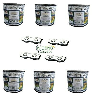 6 x 200m Ivisons White Electric Fencing rope with 4 connecting clamps