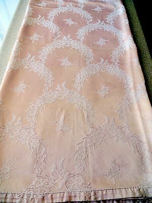 """1920's - 1930's  Peach Damask Jacquard  -Bedspread Coverlet 84"""" x 94"""" Tablecloth"""