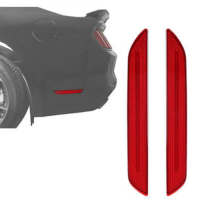 Red Rear Bumper Side Marker Reflector Lights Lamps for 2015-2017 Ford Mustang