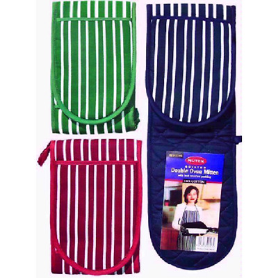 Double Kitchen Oven Mitts Gloves 100% Cotton Blue Red Black Striped Mitten