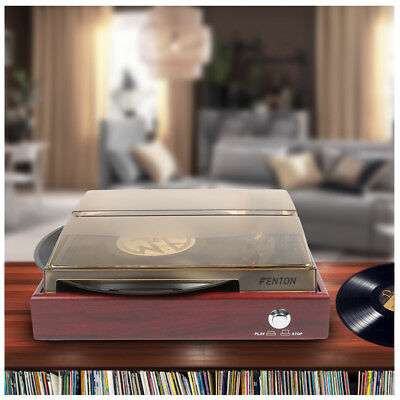 Cherry Red Wood Effect Vinyl LP Record Player MP3 Turntable Hifi Stereo System