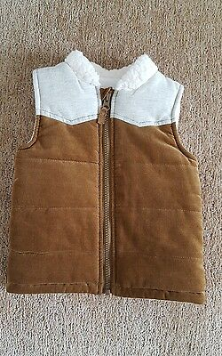 TU 12 to 18 months boys gilet/ waistcoat tan cord and cream