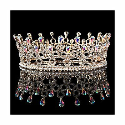 FUMUD Gold Plated Luxury Sparking AB Drill Pearl Prom King And Queen Crowns R...