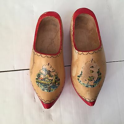 Holland Dutch Wooden Clogs Shoes ~ Red trim ~ Some carvings
