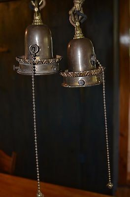 2 Old victorian Antique hanging brass fixture lights w/ pull string