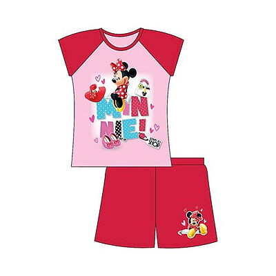 NEW Girls 100% Cotton Disney Minnie Mouse  Shortie Pyjamas 4-8 Years