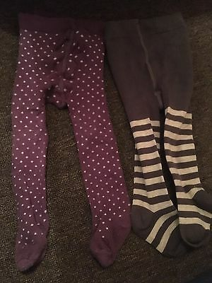 2 Pairs Of Baby Girls Tights 0-6 Months