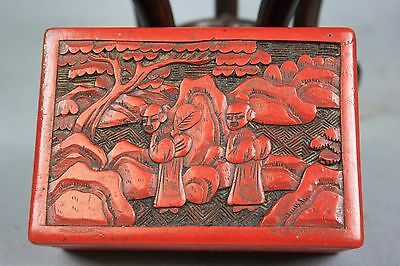 19th-20th C. Chinese Carved Red Lacquer Covered Rectangular Box
