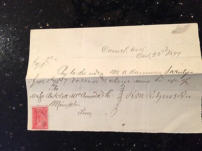 Antique legal document, Bill of Sale witth IRS tax stamp on it 1899