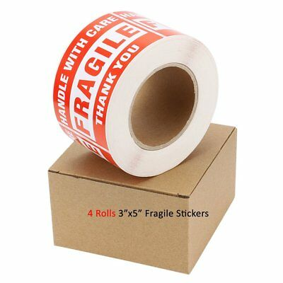 4 Rolls 500/Roll Fragile Large 3x5 Handle With Care Thank You Stickers Labels