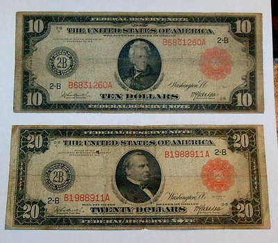 2  RED SEAL 1914 LARGE SIZE $10 Ten JACKSON & $20 CLEVELAND Twenty Dollar Note