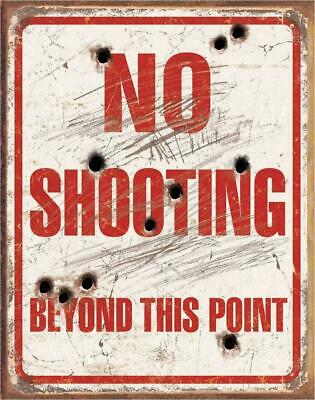 No Shooting Beyond This Point Tin Metal Sign Decor Hunting Vintage Look NEW