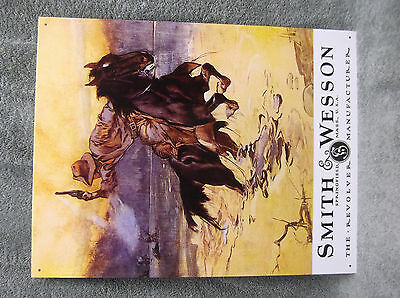 Smith & Wesson Hostiles Cowboy Horse Tin Metal Sign Decor Southwest Country NEW