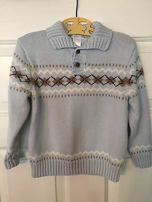 Janie and Jack Argyle Pullover Sweater Light Blue Size 3