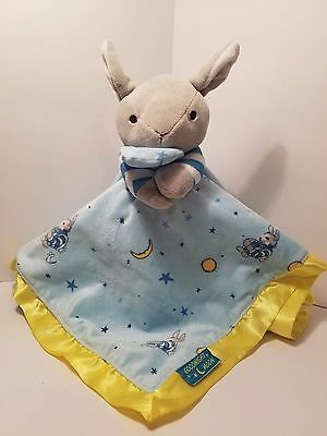 "Goodnight Moon 16"" Bunny Rabbit Baby Security Blanket Blue Green Kids Preferred"