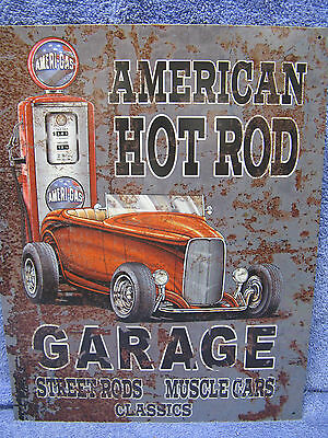 American Hot Rod Garage Tin Metal Sign Muscle Cars Gas NEW