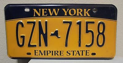 2012 New York  Empire State Gold License Plate Gzn 7158 Used