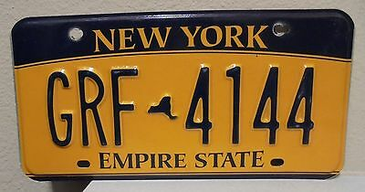 2012 New York  Empire State Gold License Plate Grf 4144 Used