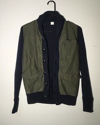 CREWCUTS Boy's Cardigan Sweater/ Jacket Size12 Navy Blue/ Olive Green