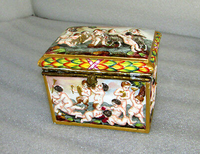 Antique Capodimonte Large Vanity Box Jewelry Casket Faun Satyr Children Playing