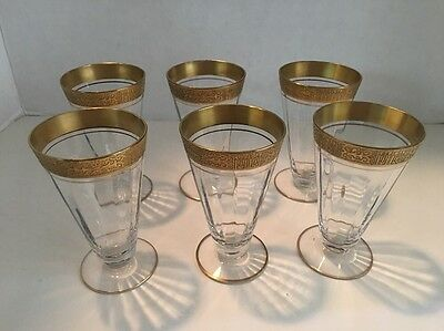 "HTF-TIFFIN SET OF 6 VALENCIA Footed TUMBLERS/GLASSES GOLD DESIGN  4"" H-CLEAR/GLD"