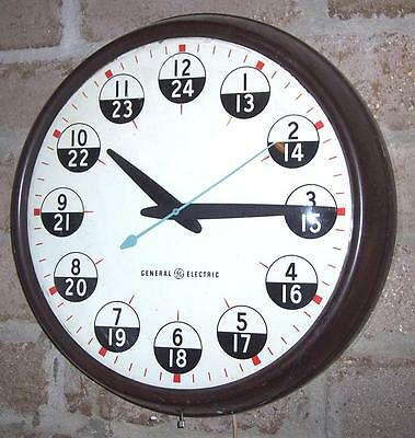 Large GE General Electric Military Wall Clock Model #2939C, 12/24 Hour Dial