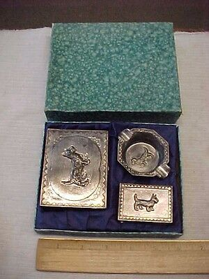 Vintage 3Pc Japanese  Metal Scotty Dog Tobacco Smoking Set Japan W Box Tokyo