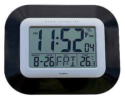 Radio Controlled LCD Wall Mountable and Desk Clock (New UK Version) Jumbo LCD