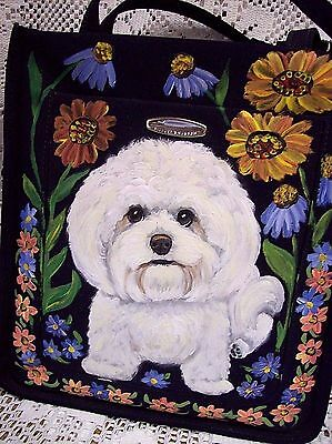 Bichon Frise Hand Painted Shoulder Bag Purse Floral Best Realistic Art