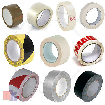 Packing Tape Multi Listing of Gaffa / Hazard / Masking / Clear / Brown / Fragile