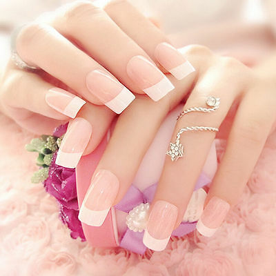 NEW 24pcs Manicure White Long French Style False Tips Fake Nails Stickers FO