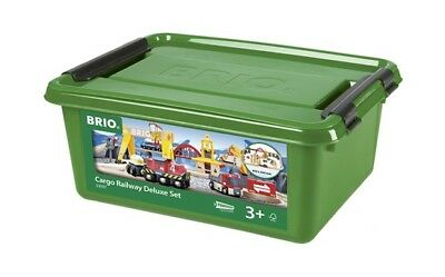 BRIO 54 Piece Cargo Railway Deluxe Set with Wooden Train Tracks and Accessories
