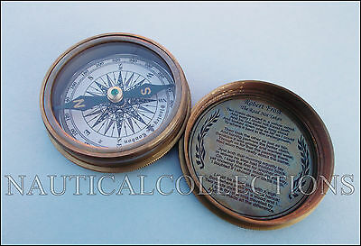Vintage Brass Compass Antique Poem Compass Nautical Robert Frost Poem Inside