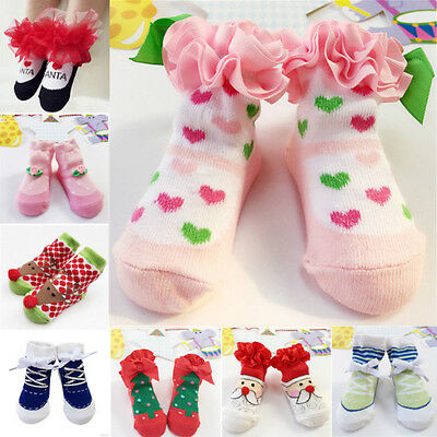 Cute Baby Newborn Infant Toddler Girls Kids Socks Slipper Shoes Anti-slip Boots