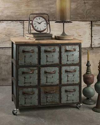 Farmhouse Vintage Inspired Holloway 9 drawer Cabinet on Rollers Industrial metal