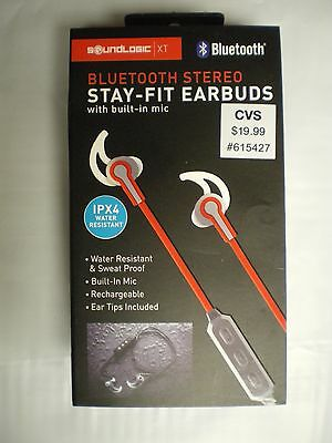 8005d761d65 Sound Logic Bluetooth Stereo Stay-Fit Earbuds, Red, FAST FREE SHIPPING!