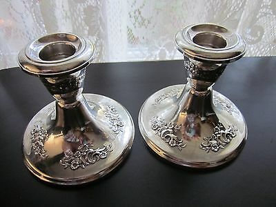 """Gorham Sterling  Victorian Chased #889  Pair Of Weighted  3 3/4"""" Candlesticks"""