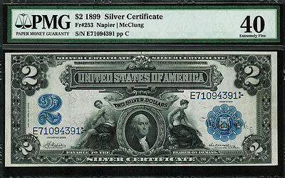"""1899 $2 Silver Certificate FR-253 - """"Mini Porthole"""" - PMG 40 - Extremely Fine"""